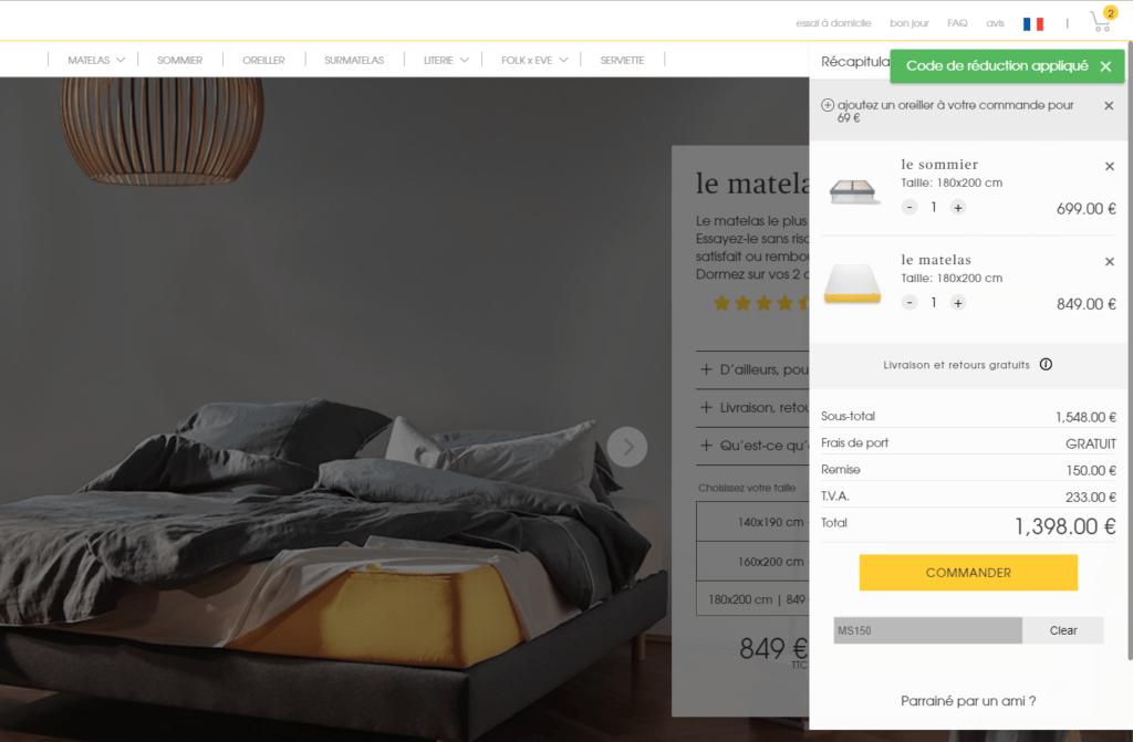 code promo eve matelas 150 de r duction eve matelas meilleur matelas. Black Bedroom Furniture Sets. Home Design Ideas